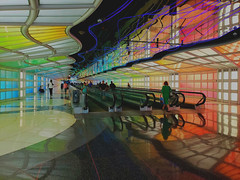 O'Hare international airport (vereiasz) Tags: airport chicago ohare colour reflection lights urban phone samsunggalaxys9 vereiasz shadows travel diagonal rainbow chicagoland chitown chicagoist windycity pattern geometry reflections curvy patterns vacation fv10 galaxys9