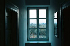 edenkoben (asketoner) Tags: grapes blue note corridor window mirror reflection landscape flat winter germany edenkoben poetry house doors