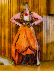 Why That Way (Steve Taylor (Photography)) Tags: digitalart brown orange red pink wood woman lady newzealand nz southisland canterbury christchurch flower texture steampunk waistcoat boots dress slope panelling