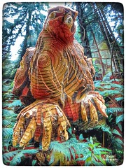 Enchanted forest (tatianalovera) Tags: scultura legno trees alberi rapace poiana poisna uccello bird foresta forest wood bosco