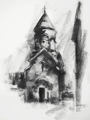 P1018417 (Gasheh) Tags: art painting drawing sketch monastery church architecture charcoal gasheh 2018
