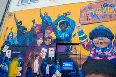 """""""We the People"""" (Shawn Blanchard) Tags: we people art mural building downtown raleigh nc north carolina color yellow blue"""