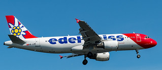 Edelweiss Air plane on approach to Arlanda