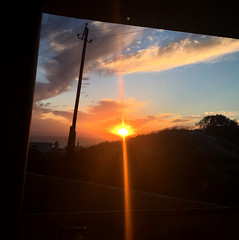 Old flat views (rjmiller1807) Tags: sunset iphone iphonography iphonese blouberg westbeach bloubergstrand capetown westerncape southafrica flat apartment views clouds sun dusk orange blue sky telegraph pole balcony 2017