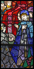 Detail from Harry Clarke stained-glass window (Frank Fullard) Tags: frankfullard fullard glass stainedglass convent church chapel dingle kerry ireland harryclarke ecliastical churchart children detail irish ecliasticalart colour color prayer holy prayerful eccliastic eccliastical