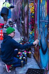 Hosiers Artist at Work (SemiXposed) Tags: melbourne cbd australia city outdoors winter graffiti hosier lane alleyway spraying artist urban street wall paint