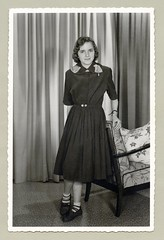 """1950s (Vintage Cars & People) Tags: vintage classic black white """"blackwhite"""" sw photo foto photography fashion 1950s 50s fifties girl lady woman teen backfisch dress loafer pennyloafer socks bobbysocks stripedsocks chair curtain"""