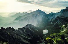 Soiernsee (One_Penny) Tags: landscape mountains nature lake mountainscape sky light sunrise sunlight hiking green clouds germany bavaria alps drone view soiernsee schoettelkarspitze peak summit morning