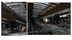 Halle Freyssinet  —  Station F, rehabilitation. (michelle@c) Tags: urban cityscape architecture rehabilitation contemporan hall freyssinet stationf 1920 sncf railway building warehouse interior space ceiling prestressed concrete canopy shed rail waggon tag worksite parisxiii diptych 2018 michellecourteau