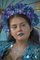 Beautiful Blue Mermaid (Scott 97006) Tags: woman female lady costume mermaid beauty lovely pretty outfit makeup sparkles flowers aqua blue