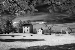 Down on the Farm (Jon Dickson Photography) Tags: 2017 infrared kentucky shaker farmhouse farm surreal best photo bestphoto skies clouds trees winter spring bw monochrome lexington