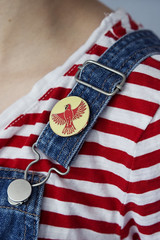 (Girl With Butterfly Wings) Tags: dungarees tee tshirt stripes stripy red bird cardinal northern birds american pin lapel enamel hardenamel goldplated badge brooch