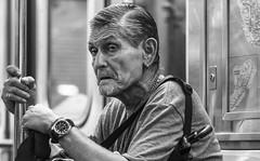 Uneasy Rider (J MERMEL) Tags: people subway passenger elderly man anxiety