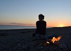 Midsummer Fire. (lisakinneen3) Tags: sunset bonfire fire beach ocean