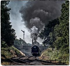 Rothley (Peter Leigh50) Tags: fujifilm fuji xt2 steam sky smoke railway railroad rail rothley bridge station signal gcr great central britannia class 7 70013 oliver cromwell