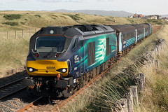 68005 'Defiant' and 68017 'Hornet' 2C33 (Cumberland Patriot) Tags: arriva trains north northern drs direct rail services kd carlisle kingmoor tmd traction maintenance depot cumbria caterpillar c17516 engine cat cats stadler vossloh uk light class 68 68005 defiant 68017 hornet diesel electric dieselelectric locomotive loco engines paytrain passenger train cumbrian coast railway line seascale links foot level crossing copeland borough railroad double track section dbso driving brake second open carriage 9709 2c33