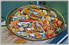 Food - Spain - Valencia - A Tasty Dish of Paella. (Bill E2011) Tags: spain valencia paella food seafood rice shellfish canon
