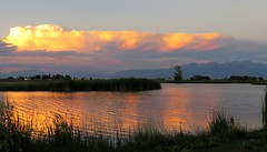 The Colors of Summer (Patricia Henschen) Tags: sunset mountain mountains cloud clouds blancavista park sangredecristo reflection wetland town alamosa colorado countryside rural lake pond catchycolors