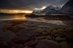 Sunrise/sunset (warmith) Tags: sunrise sunset sonyalpha7 alpha7 warmith norway norvege light lumierenaturelle coucherdesoleil levédesoleil aurore crepuscule canonfd20mm lofoten sorvagen mer sea nuageux cloudly