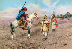 A Rider Stopping at a Bedouin Camp by Giulio Rosati (skaradogan) Tags: rider stopping beduin camp giuilo rosati orientalism orientalisme algeria north africa maghreb tunisia libya roma arab painting