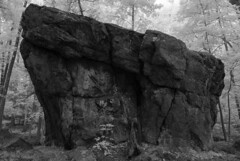 Borderland (Isodopoulos) Tags: rock boulder borderland infrared black white state massachusetts park trees ma north easton