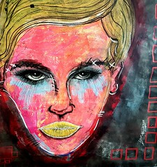 Polina (franck.sastre) Tags: art visage face femme jaune colors painting eyes lips