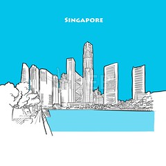 Drawing of Singapore downtown. (Hebstreits) Tags: architecture art asia asian background bay black building business city cityscape design downtown draw drawing drawn famous free hand holiday illustration ink isolated landmark landscape line metropolis modern office outline panorama panoramic pencil roof scape sea silhouette singapore sketch skyline skyscraper structure tourism tower townscape travel urban vector view