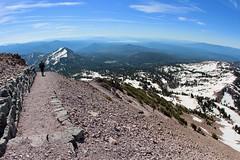 Lassen Peak Trail switchbacks (daveynin) Tags: trail volcanic mountain hiking marlena snow switchbacks switchback clear sky blue