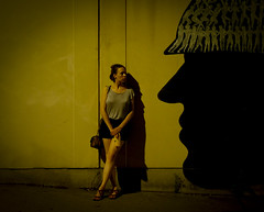 I Saw Her Standing There (CoolMcFlash) Tags: night street person woman graffiti isawherstandingthere flickrfriday standing waiting vienna head fujifilm xt2 dark lowlight nacht strase frau stehen warten wien kopf dunkel fotografie photography xf35mmf14 r shadow schatten