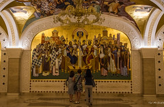 2018 - Serbia - Belgrade - Saint Sava Temple Crypt - 2 of 3 (Ted's photos - For Me & You) Tags: 2018 belgrade cropped nikon nikond750 nikonfx serbia tedmcgrath tedsphotos vignetting saintsavatemple saintsavatemplebelgrade saintsavabelgrade saintsavatemplecrypt saintsavacrypt serbianorthodoxchurch serbianorthodoxchurchbelgrade orthodoxchurch church churchinterior mural belgradeserbia churchofsaintlazar crypt column arches chandelier