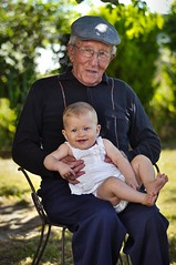 Roger (92 Yo) & Lyouba (6 Months) great grandfather (~ Jessy S ~) Tags: old man great grandfather girl baby portraiture bokeh 50mm 50 18 nikon nikkor d5000 smile eyes faces family