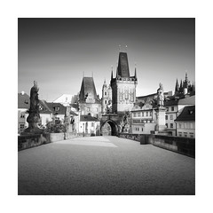 Dark Ages (GlennDriver) Tags: bw blackandwhite mono black white monochrome prague bridge architecture historic old building tower nd canon eos sky
