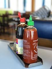 (you are) hotter than sriracha (ahjumas) Tags: ahjumas noedits iphonex restaurant soysauce spicy sriracha iphone