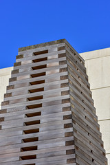 Outdoor Installation (thatSandygirl) Tags: outdoor art installation publicart wood stacked tower lines sky spring columbus museum columbusmuseumofart sculpturegarden outside cmoa blue tan grey gray