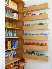 Multiply the capacity of any cabinet when you add storage to the interior side of the door. Six shallow shelves fit neatly between this door and the interior shelves to offer space for single-file lines of little luxuries and kitchen dry goods. Lips on ea (Home Decor and Fashion) Tags: dry | add any bathroom between cabinet capacity door each fit for from goods hacks ideas interior items keep kitchen lines lips little luxuries multiply neatly off offer shallow shelf shelves side singlefile six space storage this tips tumbling when you