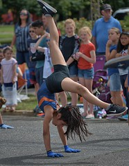 Gymnastic Talent (Scott 97006) Tags: girl athlete gymnast parade crowd performance awesome talent gloves swoosh coordination