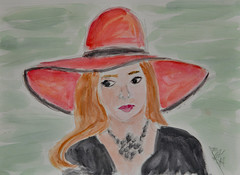 Girl in Hat - with Watercolor (BKHagar *Kim*) Tags: bkhagar art artwork artday sketch pencil drawing watercolor watercolour lady hat red portrait