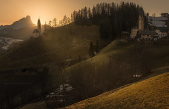 The Light (el_farero) Tags: dolomitas dolomiti church sunset mountain italy farero landscape light yellow peace god green