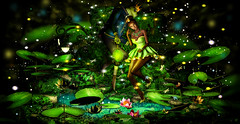 "Dance with fireflies ""contest entry"" (meriluu17) Tags: princess frog prince crow royal pond lotus fireflies fly dance fantasy fairy fairytale tale people surreal flower night shine nature green magic magical animal enchantment"