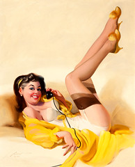 Brunette Pin-Up on the Phone, 1994 by Donald Rust (gameraboy) Tags: donaldrust pinup pinupart illustration art vintage woman sexy brunettepinuponthephone 1994 1990s lingerie stockings thighhighs nylons