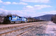 CR 6010-6314, W.Brownsville, PA. 3-14-1987 (jackdk) Tags: train railroad railway conrail cr coal coaltrain coaldrag unittrain unitcoaltrain somerset somersetcoal standardcab ge gelocomotive locomotive c327 c398 monongahela monongahelarailway monongahelariver monline westbrownsville westbrownsvillepa
