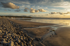 End of day at Westward Ho! (jebob) Tags: devon susent coast beach northdevon westardho pebbles sand outdoors jebob seascape nature england southwest water shadows boulders sky clouds tidal tide reflections uk