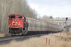 Finally Heading West (Trevor Sokolan) Tags: alberta ab sprucegrove edsonsub potash unit unittrain sd70m2 emd gmd generalmotors diesel locomotive freight sag signal canadian canada cn cnr canadiannational railway railroad railfan rail railfanning trains train trainspotting tracks b759