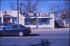 (✞bens▲n) Tags: leica m4 kodak e100g rokkor 40mm f2 film analogue slide america usa texas austin road car building art gallery mask