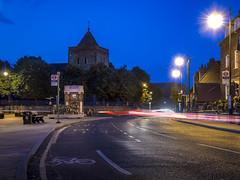 Rainham in Blue (Alan Dell) Tags: bluehour rainham village sthelenstgileschurch londoninbloom nightphotography longexposure havering lighttrails cartrails