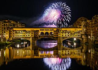 Fireworks over Florence's historic Ponte Vecchio bridge