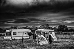 Camping (anderswetterstam) Tags: landscape nature camping caravan clouds storm clothes drying monochrome dark sky
