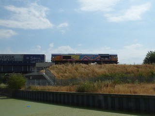 Rainbow liveried GBRf 66720 crosses a River Gipping choked with Duck Weed, at the head of the Felixstowe North -  Birch Coppice Intermodal service, Boss Hall Jct, Ipswich. 25 07 2018