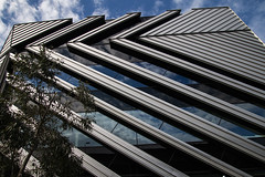 New Horizons - featured Sun shade system (Greenstone Girl) Tags: claytoncampus monashuniversity buildings geometry plants natives windows reflections sky blue clouds openupmelb