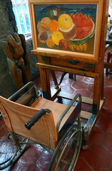 Wheelchair and easel at Frida Kahlo's house, the Casa Azul, that she shared with her husband Diego Rivera in San Angel, Mexico (Al Varty) Tags: wheelchair painting artist easel frida kahlo house casaazul husband rivera sanangel mexico